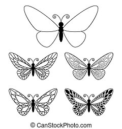 butteflies, blanc, ensemble, isolé