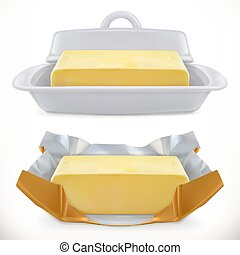Butter. 3d realistic vector icon