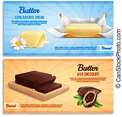 Butter Advertising Realistic Banners