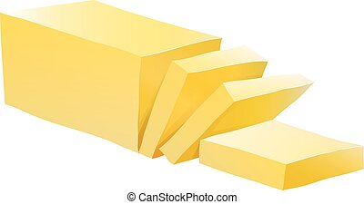 Butter - Bar of butter with some slices