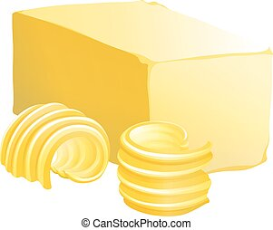 Butter - Bar of butter with two slices on the side