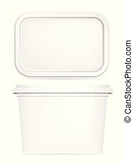 Butter box, white vector mock up, 3d container template