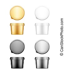 Butter, cheese or margarine round container with lid mockup. Blank white, silver, gold, black plastic food package: cream, yogurt, dessert, spread. Product template. Isolated 3d vector illustration