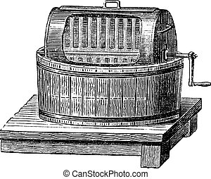 Butter Churn, vintage engraved illustration. Industrial Encyclopedia - E.O. Lami - 1875