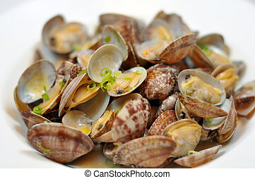 Western food - butter, clams and small shallot