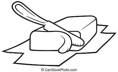 Butter - Knife Cutting Butter, Black and White Cartoon...