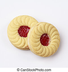 Butter cookies cookies with strawberry jam