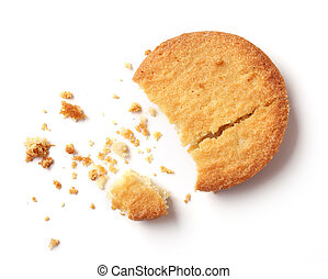 butter cookies on white background, top view