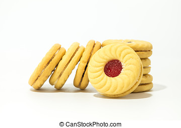 Butter cookies with strawberry jam