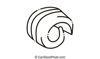 butter curl Icon Animation. black butter curl animated icon on white background