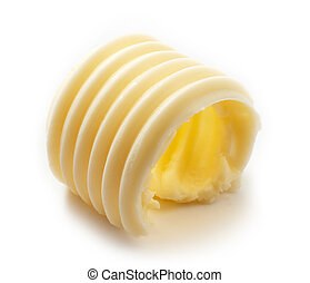 butter curl on white background