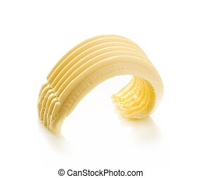 Butter curl  - Closeup of a butter curl on white background