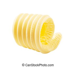 Butter curl - Curl of fresh butter isolated on white