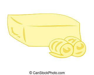 butter, curls., block