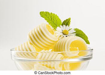 Butter curls in a glass bowl  - detail