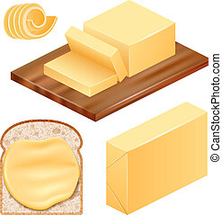 Butter icon set, realistic style