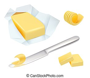 Butter. Margarine breakfast milk butter for cooking food vector realistic pictures collection. Butter or margarine, fresh dairy ingredient illustration