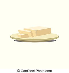 Butter, margarine on a plate, baking ingredient vector Illustration isolated on a white background