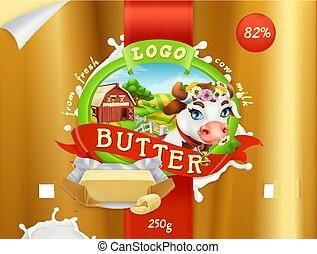Butter. Milk farm. 3d realistic vector, package design