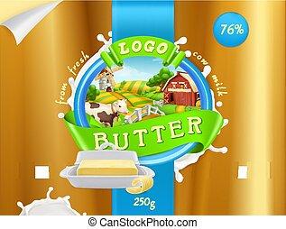 Butter, milk farm. 3d realistic vector, package design