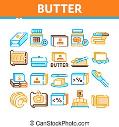 Butter Or Margarine Collection Icons Set Vector. Butter On Piece Of Bread And Knife, Sliced And Cut, In Package And Bottle, Fat And Vitamin Concept Linear Pictograms. Color Illustrations