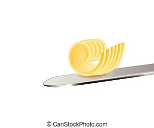 Butter or margarine single curly cut piece on knife, realistic vector illustration isolated on white background. Element for diary food products packaging and branding.