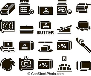 Butter Or Margarine Glyph Set Vector. Butter On Piece Of Bread And Knife, Sliced And Cut, In Package And Bottle, Fat And Vitamin Glyph Pictograms Black Illustrations