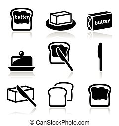 Food icons set - butter on bread slice, butter pack isolated on white