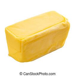 Fresh butter over white background
