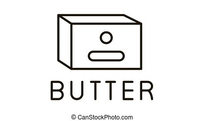 butter product Icon Animation. black butter product animated icon on white background