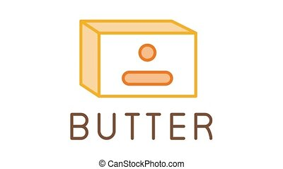 butter product Icon Animation. color butter product animated icon on white background