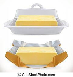 butter., realístico, vetorial, 3d, ícone