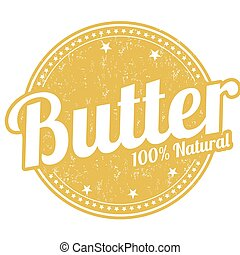 Butter rubber stamp - Butter grunge rubber stamp on white...