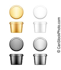 Butter, cheese, margarine circle container with lid mockup - front, top view. White, silver, gold, black plastic food package: cream, yogurt, spread. Product template. Isolated 3d vector illustration