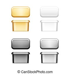 Butter, soft cheese or margarine container with lid mockup - front, top view. Blank white, silver, gold, black plastic food package: cream, yoghurt. Product template. Isolated 3d vector illustration
