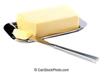 Butter - Piece of Butter on Silver Plate with Knife.