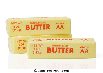 Three sticks of wrapped butter