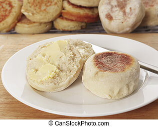 Buttered English muffin - A traditional buttered English...