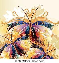 butterflie, colorito, fondo