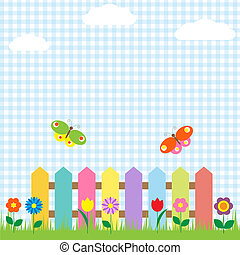 butterflies, цветы, забор, красочный