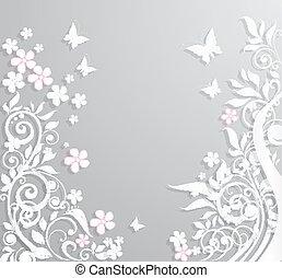 butterflies., 抽象的, ペーパー, 花, 背景