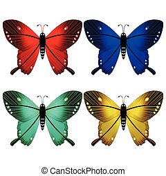 butterflies against white