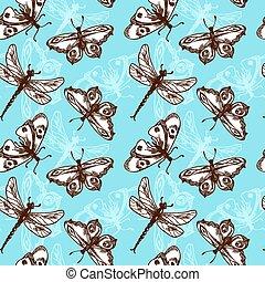 Butterflies and dragonflies seamless pattern