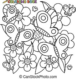 Butterflies and flowers. Vector black and white coloring page.