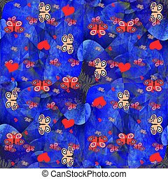 Butterflies and hearts pattern