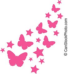 Butterflies and pink stars