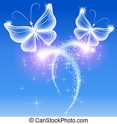 Butterflies and stars - Glowing background with butterflies ...