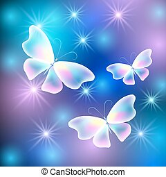 Butterflies and stars - Glowing butterflies with sparkle...