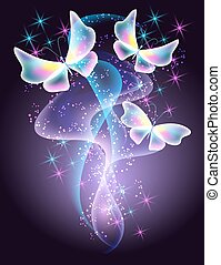 Butterflies and stars - Glowing butterflies and smoke with...