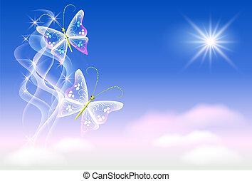 butterflies and sunshine - Sky, clouds, butterflies and...